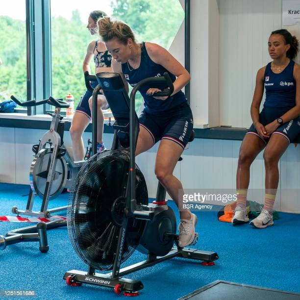 Selma Poutsma Lara van Ruijven and Georgie Dalrymple seen during a circuit training of the Dutch Shorttrack Team on June 17 2020 in Heerenveen The...