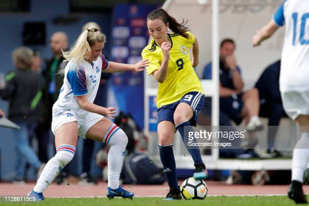 Selma Sol Magnusdottir of Iceland Women Caroline Weir of Scotland Women during the Algarve Cup Women match between Iceland v Scotland at the Estadio...