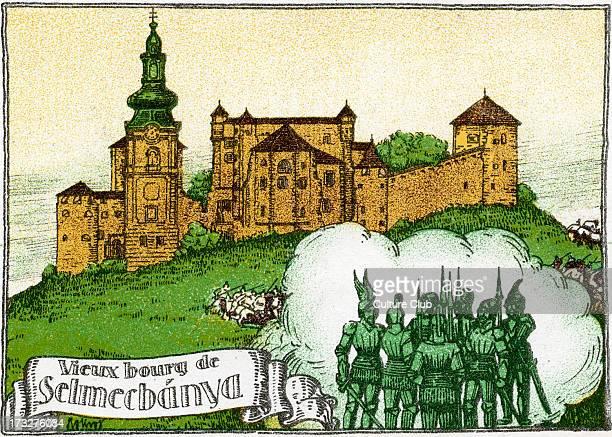Selmecbánya defended from Turkish invasion From early 20th century illustration Modern day Banská Štiavnica Slovenia Caption 'L'église fut...