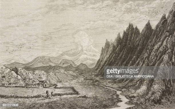 Selsund valley and boer, drawing by Yan Dargent from the author's album, from Travels in the Icelandic interior by Natale Nogaret from Il Giro del...