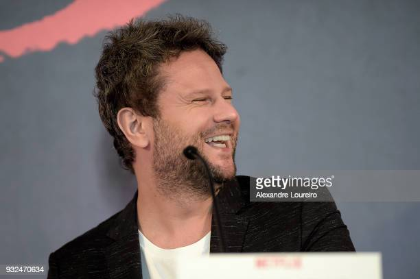 Selton Mello speaks during the press conference for the new Netflix series O Mecanismo at the Belmond Copacabana Palace Hotel on March 15 2018 in Rio...