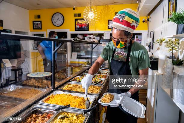 Selwyn Plaza dishes up macaroni and cheese at Sunrise Caribbean Restaurant. Caribbean dining on Georgia Avenue photographed for Weekend in...