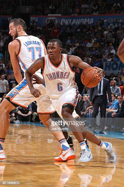 Semaj Christon of the Oklahoma City Thunder handles the ball against the Phoenix Suns on October 28 2016 at the Chesapeake Energy Arena in Oklahoma...