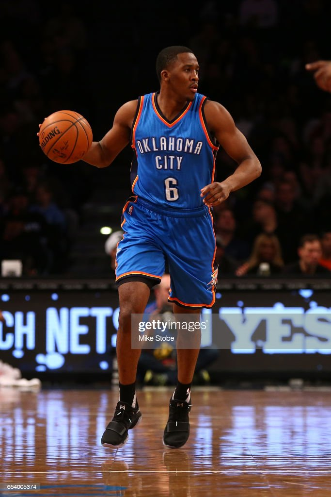 Semaj Christon #6 of the Oklahoma City Thunder in action against the Brooklyn Nets at Barclays Center on March 14, 2017 in New York City.