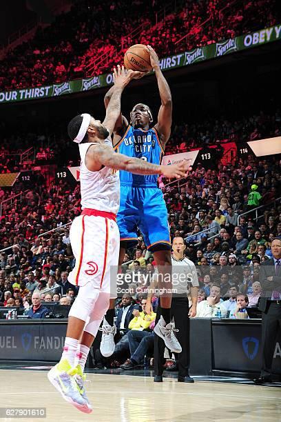 Semaj Christon of the Oklahoma City Thunder shoots the ball against the Atlanta Hawks on December 5 2016 at Philips Arena in Atlanta Georgia NOTE TO...