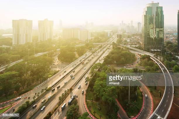 semanggi intersection, jakarta, indonesia - ジャカルタ ストックフォトと画像