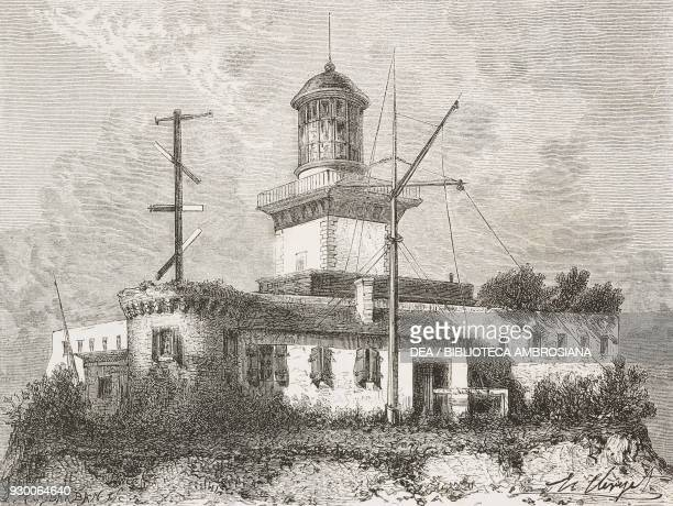 Semaphore station and lighthouse of Agde Herault drawing by Hubert Clerget from a sketch by the authors from Storms and Shipwrecks 18701874 by...