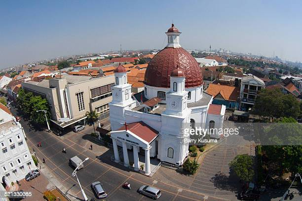 semarang aerial view. - east java province stock photos and pictures