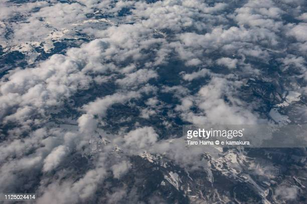 Semboku city in Akita prefecture in Japan daytime aerial view from airplane