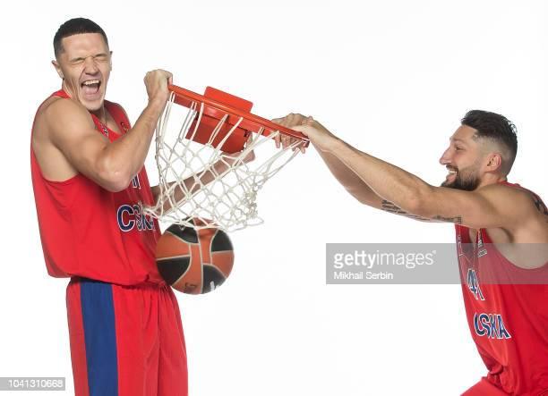 Semen Antonov #11 and Nikita Kurbanov #41 poses during the CSKA Moscow 2018/2019 Turkish Airlines EuroLeague Media Day at Megasport Arena on...