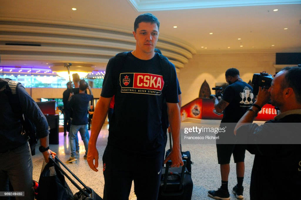 Semen Antonov, #11 of CSKA during the CSKA Moscow Arrival to participate of 2018 Turkish Airlines EuroLeague F4 at Hyatt Regency Hotel on May 16, 2018 in Belgrade, Serbia.