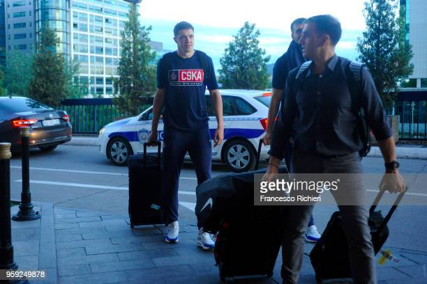 Semen Antonov #11 of CSKA Moscow during the CSKA Moscow Arrival to participate of 2018 Turkish Airlines EuroLeague F4 at Hyatt Regency Hotel on May...