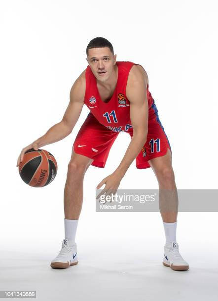 Semen Antonov #11 poses during the CSKA Moscow 2018/2019 Turkish Airlines EuroLeague Media Day at Megasport Arena on September 26 2018 in Moscow...