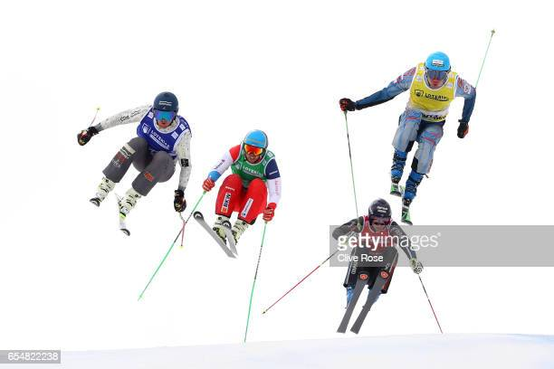 Semen Denshchikov of Russia leads Jamie Pebble of New ZealandMarc Bischofberger of Switzerland and Francois Place of Frace during the Men's Ski Cross...