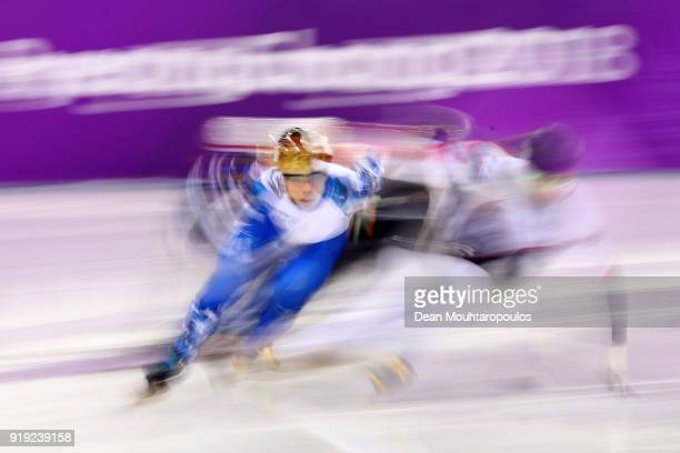 Semen Elistratov of Olympic Athlete from Russia competes during the Short Track Speed Skating Men's 1000m Quarterfinals on day eight of the...