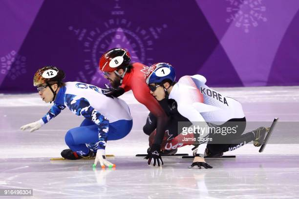 Semen Elistratov of Olympic Athlete from Russia leads Charles Hamelin of Canada and Yira Seo of Korea during the Men's 1500m Short Track Speed...