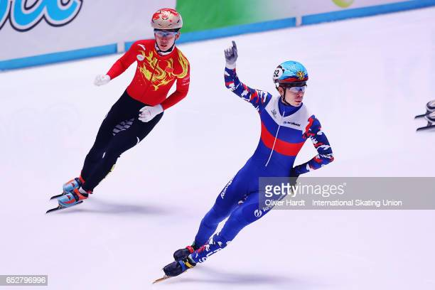 Semen Elistratov of Russia celebrate after the Men«s 1000m semi finals race during day two of ISU World Short Track Championships at Rotterdam Ahoy...
