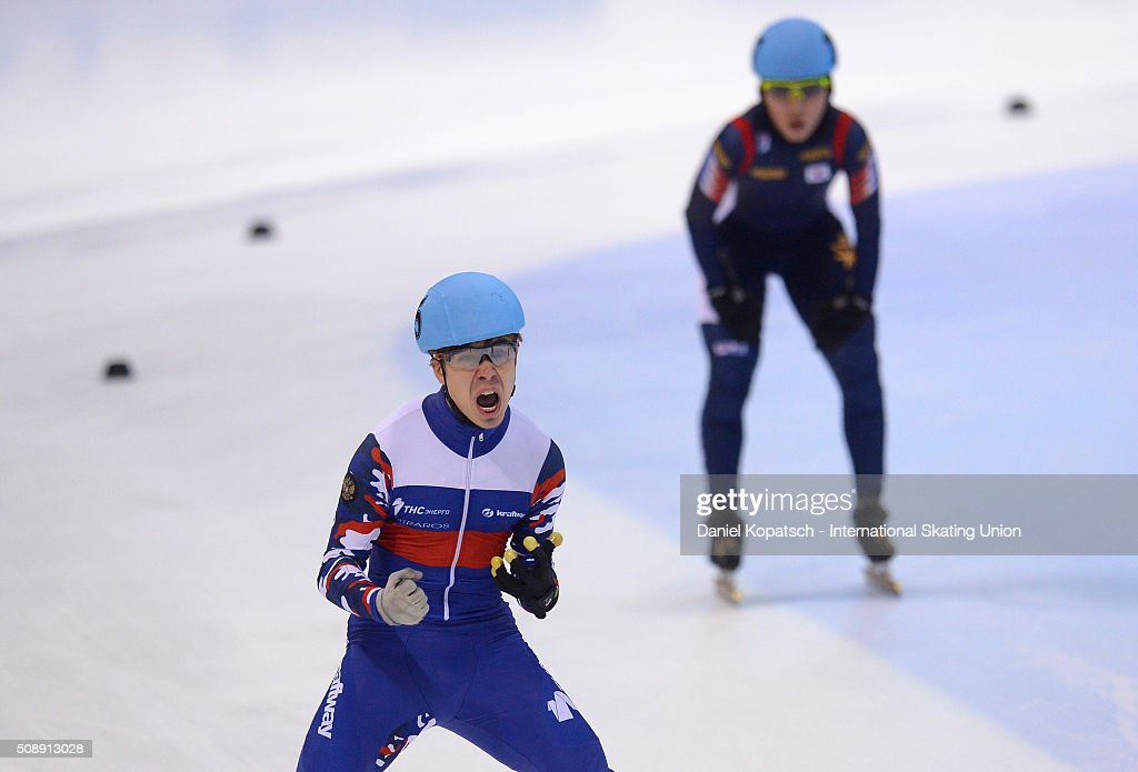 Semen Elistratov of Russia celebrates after the Men 5000 M Relay Final during day two of the ISU World Cup Short Track Speed Skating at EnergieVerbund Arena on February 7, 2016 in Dresden, Germany.