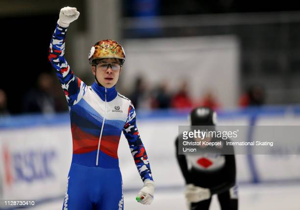 Semen Elistratov of Russia celebrates winning the men 5000 meter relay final A of the ISU Short Track World Cup Day 2 at Tazzoli Ice Rink on February...