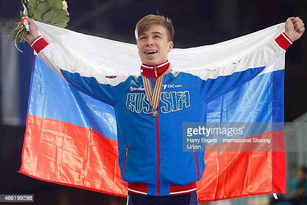 Semen Elistratov of Russia celebrates with his Gold medal after winning the Men's 1500m Final on day two of the ISU World Short Track Speed Skating...