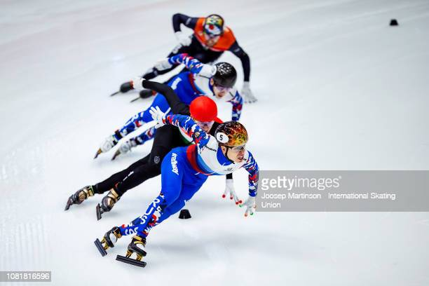 Semen Elistratov of Russia competes in the Men's 1000m final during the ISU European Short Track Speed Skating Championships at Sportboulevard on...