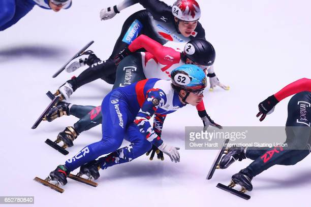 Semen Elistratov of Russia competes in the Men«s 1000m quarter finals race during day two of ISU World Short Track Championships at Rotterdam Ahoy...