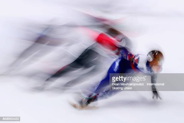 Semen Elistratov of Russia competes in the Mens 1000m Quarter Finals during the Audi ISU World Cup Short Track Speed Skating at Optisport...