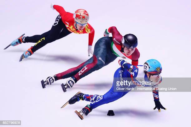 Semen Elistratov of Russia competes in the Men«s 1000m semi finals race during day two of ISU World Short Track Championships at Rotterdam Ahoy Arena...
