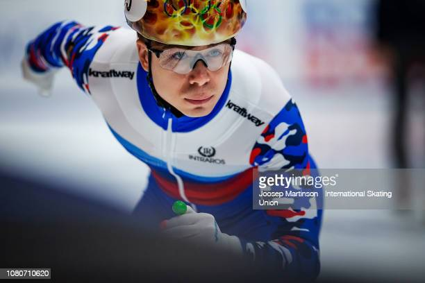Semen Elistratov of Russia competes in the Men's 500m heat 7 during the ISU European Short Track Speed Skating Championships at Sportboulevard on...