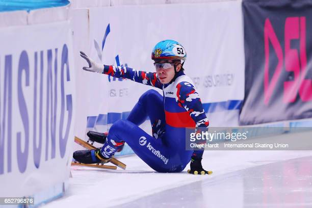 Semen Elistratov of Russia competes in the Mens A 1000m finals race during day two of ISU World Short Track Championships at Rotterdam Ahoy Arena on...
