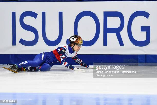 Semen Elistratov of Russia crashes in the men's 1000 meter quarterfinals during the World Short Track Speed Skating Championships at Maurice Richard...