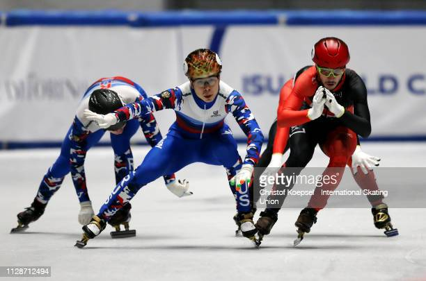 Semen Elistratov of Russia croesses as firstt he finish line during the mixed gender 3000 meter final during the ISU Short Track World Cup Day 2 at...