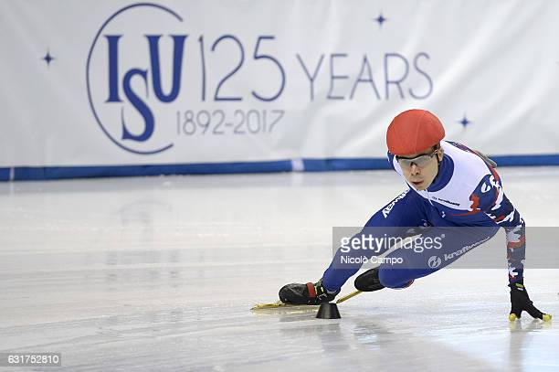 Semen Elistratov of Russia in action in the 1000m Men Quarterfinal during the European Short Track Speed Skating championships in Turin