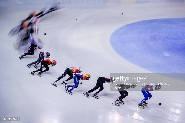 Semen Elistratov of Russia leads the pack in the Men's 1500m semifinal during day two of the European Short Track Speed Skating Championships at...