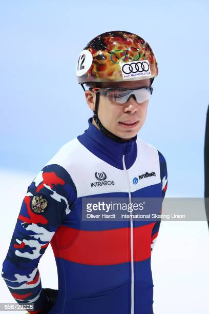 Semen Elistratov of Russia looks on prior to the Mens 1500m semi finals race during the Audi ISU World Cup Short Track Speed Skating at Optisport...