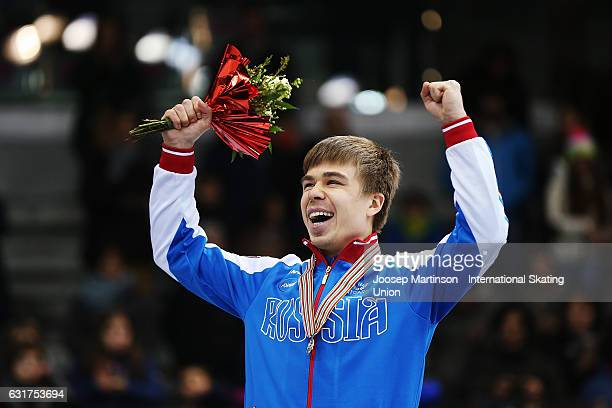 Semen Elistratov of Russia reacts during the Men's overall classification medal ceremony during day 2 of the European Short Track Speed Skating...