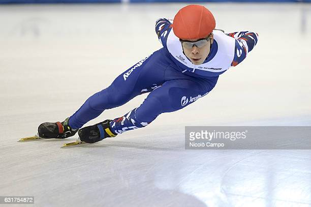 Semen Elistratov of Russia warms up during the European Short Track Speed Skating championships in Turin
