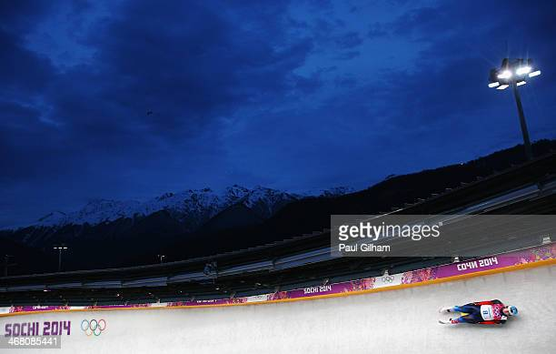 Semen Pavlichenko of Russia competes during the Men's Luge Singles on Day 2 of the Sochi 2014 Winter Olympics at Sliding Center Sanki on February 9...
