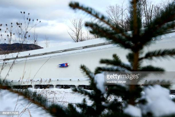 Semen Pavlichenko of Russia during the Men's first run in the Viessmann FIL Luge World Cup at Lake Placid Olympic Center on December 15 2017 in Lake...