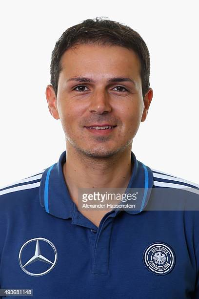 Semeon Geronikolakis team doctor of the Germany national U16 team poses during the team presentation on October 21 2015 in Grodig Austria