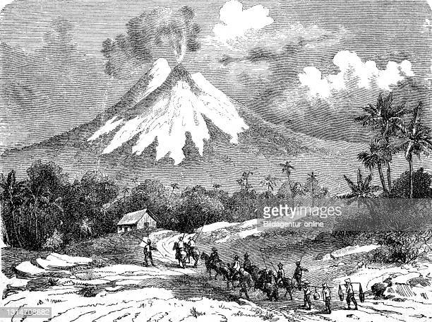 Semeru, also Mahameru, Great Meru, is a stratovolcano and with 3676 m height the highest mountain of the island Java, Indonesia, illustration from...