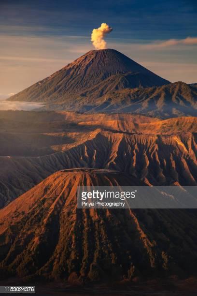 semeru eruption with bromo - mt semeru stock pictures, royalty-free photos & images