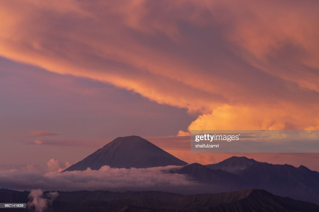 Semeru, or Mount Semeru, is an active volcano located in East Java, Indonesia. It is the highest mountain on the island of Java (3,676 m). : Stock Photo