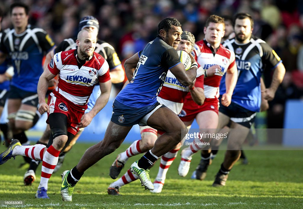 Semesa Rokoduguni of Bath breaks through the gloucester defence during the LV= Cup match between Gloucester and Bath at the Kingsholm Stadium on February 2, 2013 in Gloucester, England.
