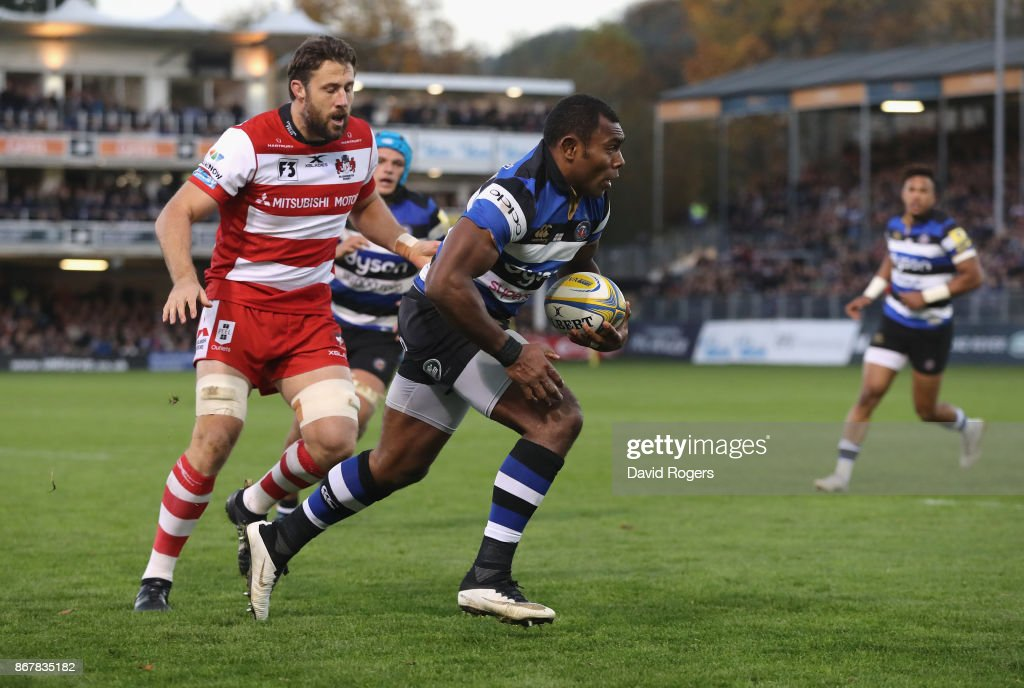 Semesa Rokoduguni of Bath breaks through to score a late try during the Aviva Premiership match between Bath Rugby and Gloucester Rugby at the Recreation Ground on October 29, 2017 in Bath, England.