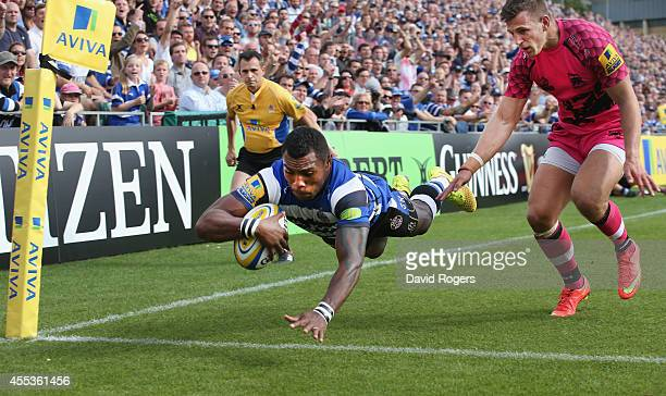Semesa Rokoduguni of Bath dives in the corner to score a try during the Aviva Premiership match between Bath and London Welsh at the Recreation...