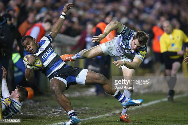 Semesa Rokoduguni of Bath is pushed into touch by Chris Wyles which resulted in Wyles being shown the yellow card during the Aviva Premiership match...