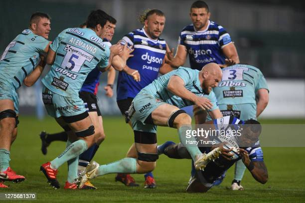 Semesa Rokoduguni of Bath Rugby is tackled by Matt Garvey of Gloucester Rugby during the Gallagher Premiership Rugby match between Bath Rugby and...