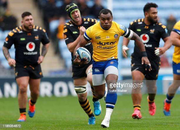 Semesa Rokoduguni of Bath Rugby runs with the ball during the Gallagher Premiership Rugby match between Wasps and Bath Rugby at The Ricoh Arena on...