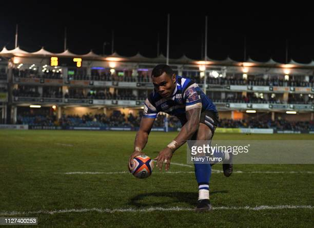 Semesa Rokoduguni of Bath Rugby scores his fifth try during the Premiership Rugby Cup match between Bath Rugby and Gloucester Rugby at the Recreation...